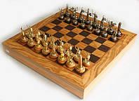 Шахматы Manopoulos Оливковый совет и Троянская война в деревянном футляре 41х41 см