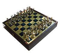 Шахматы Manopoulos Греческая мифология в деревянном футляре 34х34 см Синие