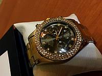 Женские кварцевые часы Rolex Gold в камнях с металлическим комбинированым ремешком