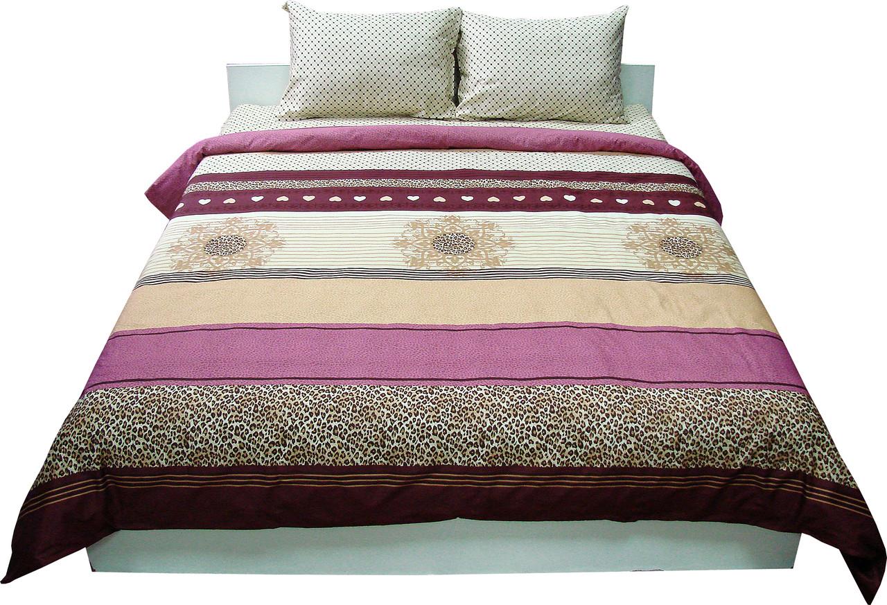 Комплект постельного белья Семейный РУНО 143х215 Сатин (6.137К_40-0689bordo)