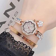 Часы женские в камнях Swarovski эксклюзив , Rose Gold покрытие 18К