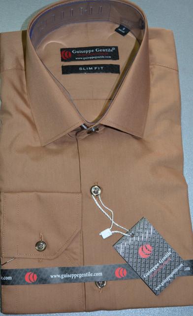 Коричневая приталенная  рубашка GUISEPPE GENTILE (размеры S,M)