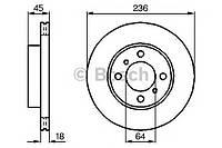 Гальмівний диск mitsubishi carisma/colt/lancer ''f (производство Bosch ), код запчасти: 0986478572