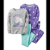 Комплект детских пижам для девочки Carters Совушки сирень, Размер 10, Размер 10