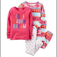 Комплект детских пижам для девочки Carters розовый Орнамент