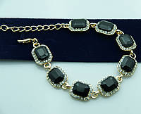 Вечерний браслет с чёрными камнями и стразами. Нарядная бижутерия оптом недорого. 926