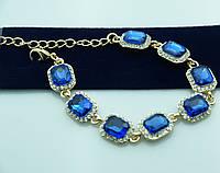 Голубой вечерний браслет в оправе под золото. Нарядные украшения оптом. 928
