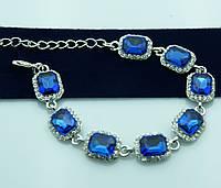 Голубой вечерний браслет в оправе под серебро. Нарядные украшения оптом недорого. 929