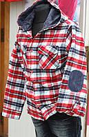 Рубашка байковая с капюшоном в красную клетку