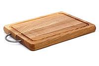 Деревянная разделочная доска с ручкой изготовленой из стали 25 х 20 см