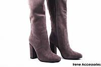 Сапоги женские замш Deenoor (ботфорты высокие, стильные, каблук, серые, байка)
