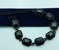 Модный браслет с чёрными камнями. Недорогая праздничная бижутерия оптом. 936
