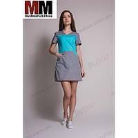 Медицинский халат женский Сидней (мятный/серый) №82