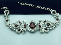 Фигурный браслет с алыми камнями. Королевские украшения оптом недорого. 941
