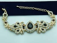 Видный браслет с чёрными камнями. Королевские украшения от Бижутерии оптом RRR. 943