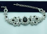 Блестящий браслет с чёрными камнями. Королевские аксессуары на руку оптом. 944