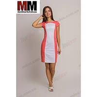 Медицинский халат женский Марсель (белый/коралл) №69
