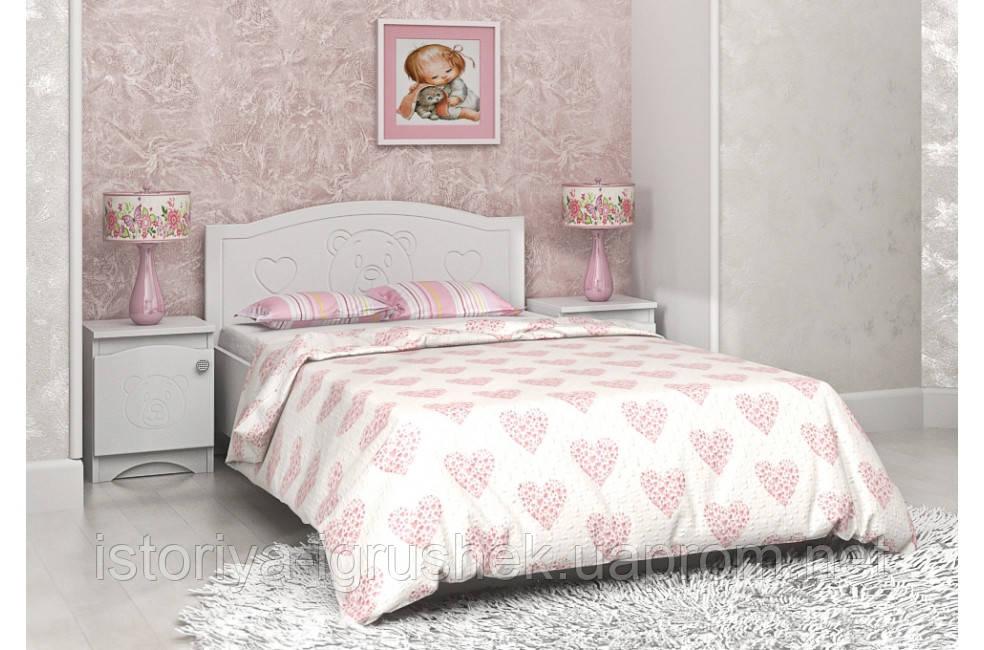 Детская кровать «Мишка» 90x190 см, без ящиков, цвет: белый