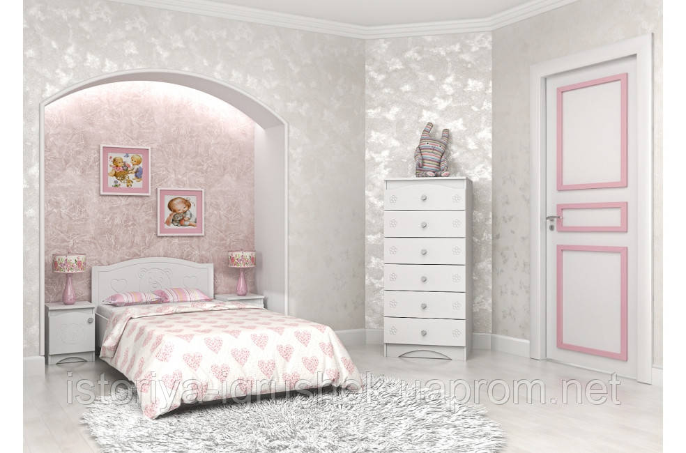 Детская кровать «Мишка» 120x190 см, без ящиков, цвет: белы