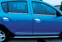 Dacia Logan MCV 2013+ гг. Накладки на ручки (4 шт, нерж.) Carmos - Турецкая сталь