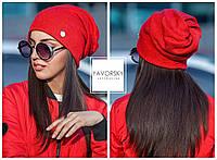 Молодежная шапка  с отверстием для волос цвет красный