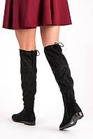 Женские ботфорты черные замшевые на низком ходу