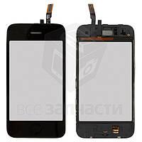 Сенсорный экран для мобильного телефона Apple iPhone 3GS, черный, с рамкой, с кнопкой HOME