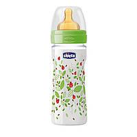 Бутылочка пластиковая Well-Being с латексной соской 4м+ 330 мл Chicco Зеленая (20634.30.50), фото 1