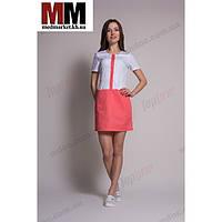 Медицинский халат женский Милан (белый/коралл) №70