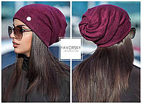 Оригинальная шапка  с отверстием для волос цвет бордо