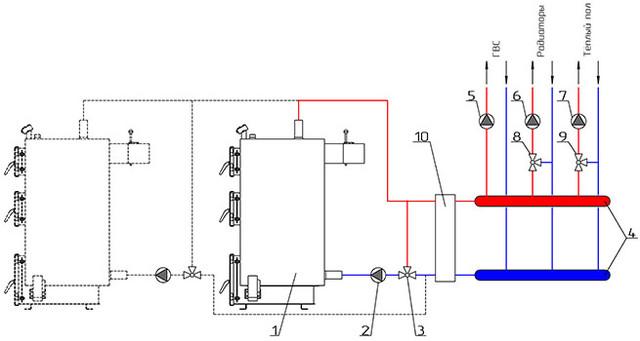 Схема подключения котла Неус через гидрострелку