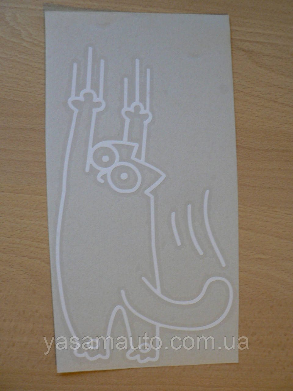 Наклейка vc Кот Саймона Царапка 140х253мм №4 белый виниловая контурная на авто