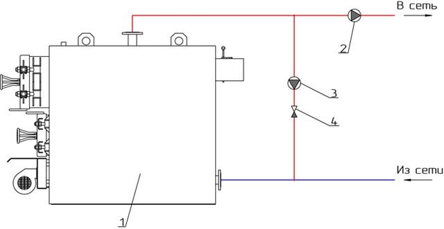 Схема подключения котла неус через рециркуляционный насос
