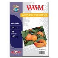 Фотобумага WWM матовая, 230г/м кв, A4, 100л