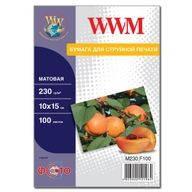 Фотобумага WWM матовая, 230г/м кв, 10см x 15см, 100л