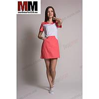 Медицинский халат женский Сидней (белый/коралл) №80