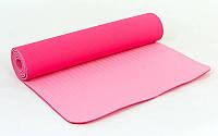 Йогамат из каучука двуслойный армированный розовый/светло розовый 173 х 61 х 0,7 см