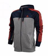 Толстовка Adidas, адидас, трикотаж, кенгуру, с капюшоном, красные вставки, С4