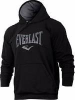 Толстовка Everlast, еверласт, черная, серое лого, с капюшоном, кенгуру, спортивная, С9