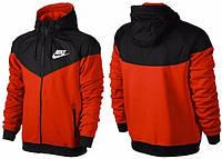 Зимняя толстовка, Кофта Кенгуру, толстовка на флисе Nike, Найк, красная с черным, Кенгуру, толстовка, С15