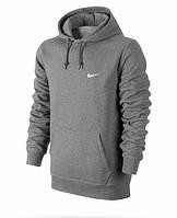 Толстовка Nike, найк, серая, кенгуру, с капюшоном, трикотаж, белое лого, спортивная, С22
