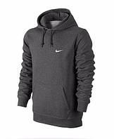 Толстовка Nike, найк, темно-серая, кенгуру, с капюшоном, трикотаж, спортивная, С23
