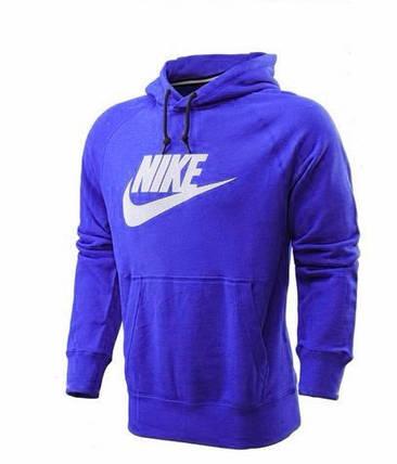e28cf3e2 Толстовка Nike, найк, синяя, кенгуру, с капюшоном, белое лого, трикотаж