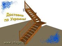Деревянная Лестница - Прямая двухмаршевая