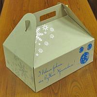 Коробки новогодние подарочные с ручками 310х220х110, бурая