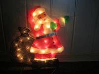 Светящийся панно дед мороз с мешком