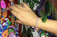 Магнитный лечебный браслет со стразами 8902 (белые камни)