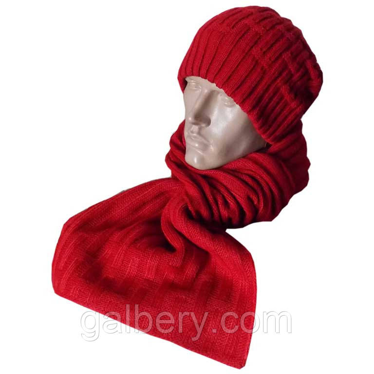 Чоловіча в'язана шапка - носок і шарф спортивного силуету