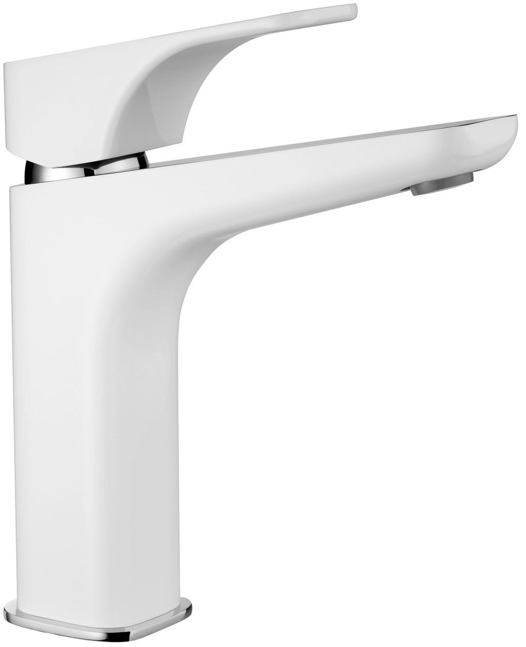 Смеситель для умывальника Deante HIACYNT с системой click-clack, высокий корпус, хром/белый