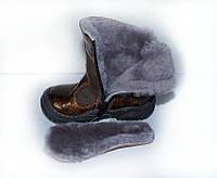 Распродажа!!! Зимние сапожки Турция Panda ортопедические темно коричневый (комбинированный лак + нубук)